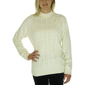 Medium Petite Cable Knit Mock Neck Sweater NEW